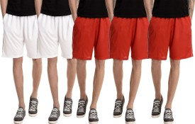 Dee Mannequin Solid Men's White, White, Red, Red, Red Basic Shorts