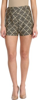 Miss Chase Geometric Print Women's Black High Waist Shorts