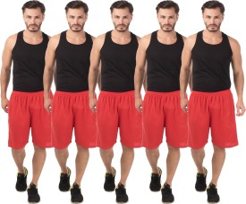 Meebaw Self Design Men's Red, Red, Red, Red, Red Sports Shorts