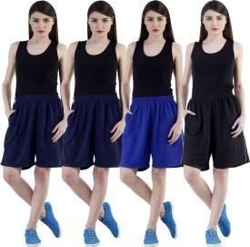 Dee Mannequin Self Design Women's Dark Blue, Dark Blue, Blue, Black Sports Shorts