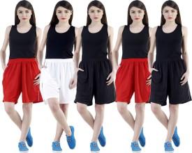 Dee Mannequin Self Design Women's White, Red, Red, Black, Black Sports Shorts