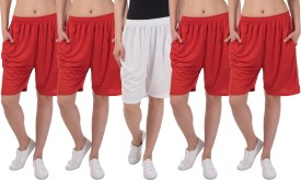 Dee Mannequin Solid Women's White, Red, Red, Red, Red Basic Shorts