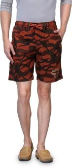 Wear Your Mind Printed Men's Orange Basic Shorts