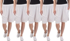 Gaushi Solid Women's White, White, White, White, White Sports Shorts