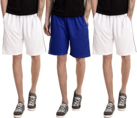 Dee Mannequin Solid Men's White, White, Blue Basic Shorts