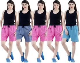 Dee Mannequin Self Design Women's Dark Blue, Pink, Pink, Pink, Blue Sports Shorts