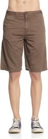 Cottonworld Solid Men's Reversible Brown Basic Shorts