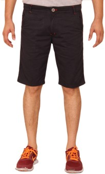 Clickroo Black Slim Fit Printed Men's Chino Shorts