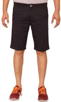 Clickroo Black Slim Fit Printed Men's Chino Shorts