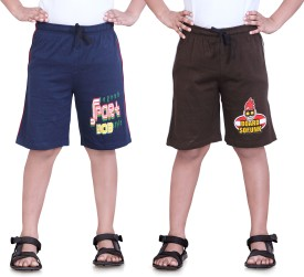 Dongli Printed Boy's Dark Blue, Brown Sports Shorts