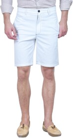 Forest Club Solid Men's White Basic Shorts