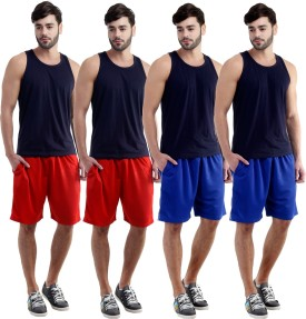 Dee Mannequin Self Design Men's Red, Red, Blue, Blue Sports Shorts
