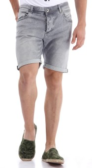 SELECTED Solid Men's Grey Denim Shorts
