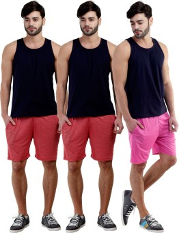 Dee Mannequin Self Design Men's Red, Red, Pink Sports Shorts