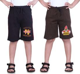 Dongli Printed Boy's Black, Brown Sports Shorts