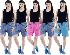 Dee Mannequin Self Design Women's Dark Blue, Dark Blue, Dark Blue, Pink, Blue Sports Shorts