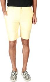 Eighty Eight Yellow Solid Men's Basic Shorts