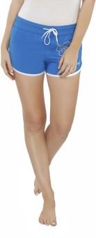 Heart 2 Heart Printed Women's Reversible Blue Beach Shorts
