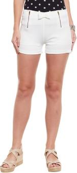Diachic Solid Women's White High Waist Shorts
