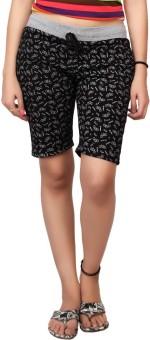 Carrel Printed Women's Black, Grey Sports Shorts