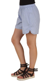 Mind The Gap Checkered Women's Blue Boxer Shorts