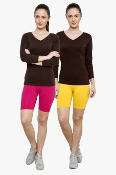 Softrose Solid Women's Pink, Yellow Cycling Shorts