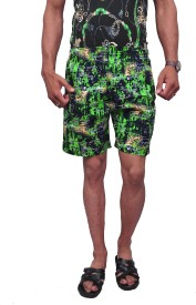 Style In Printed Men's Green Beach Shorts