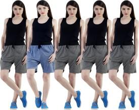 Dee Mannequin Self Design Women's Dark Blue, Grey, Grey, Grey, Grey Sports Shorts