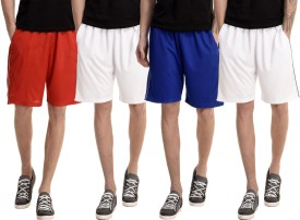Dee Mannequin Solid Men's White, White, Red, Blue Basic Shorts