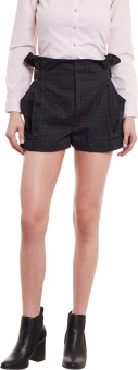 Diachic Checkered Women's Black High Waist Shorts