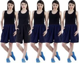 Dee Mannequin Self Design Women's Dark Blue, Dark Blue, Dark Blue, Dark Blue, Black Sports Shorts