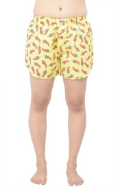 TeesTadka Printed Women's Gold Boxer Shorts
