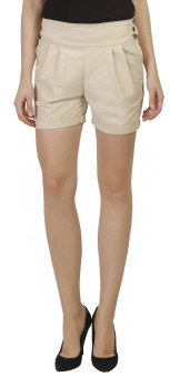 Ashdan Solid Women's Beige High Waist Shorts
