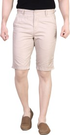 King & I Solid Men's Beige Chino Shorts