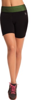 PrettySecrets Solid Women's Black Sports Shorts, Running Shorts, Gym Shorts