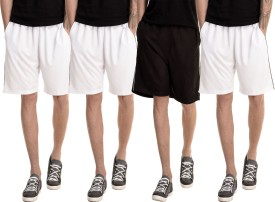 Dee Mannequin Solid Men's White, White, White, Black Basic Shorts