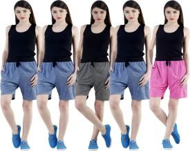Dee Mannequin Self Design Women's Dark Blue, Dark Blue, Dark Blue, Grey, Pink Sports Shorts