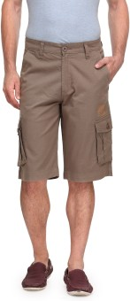 Wear Your Mind Solid Men's Grey Cargo Shorts