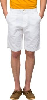 T-Base White Solid Men's Basic Shorts
