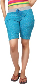 Carrel Printed Women's Blue, Grey Sports Shorts