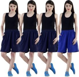 Dee Mannequin Self Design Women's Dark Blue, Dark Blue, Dark Blue, Blue Sports Shorts