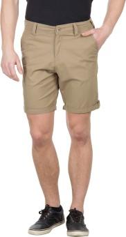 Wilkins & Tuscany 10738_Khaki Solid Men's Basic Shorts