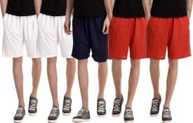 Dee Mannequin Solid Men's White, White, Red, Red, Dark Blue Basic Shorts