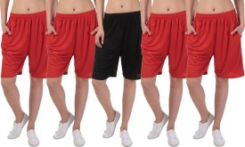 Gaushi Solid Women's Red, Red, Red, Red, Black Sports Shorts