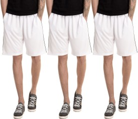 Dee Mannequin Solid Men's White, White, White Basic Shorts