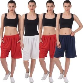 Meebaw Self Design Women's White, Red, Red, Dark Blue Sports Shorts