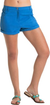 PrettySecrets Blue Cotton Solid Women's Beach Shorts