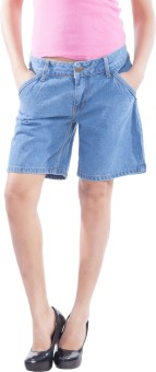 TrendBAE Light Blue Solid Women's Denim Denim Shorts
