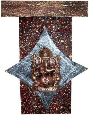 Krafthub Diamond Ganesha Fixed On Stone Studded Plate