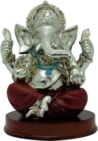 ART N HUB Platinum Plated Lord Ganesha With Wooden Base Statue (H-13 CM) Showpiece  -  13 cm